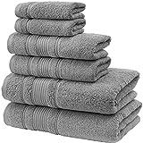 Qute Home 6-Piece Bath Towels Set, 100% Turkish