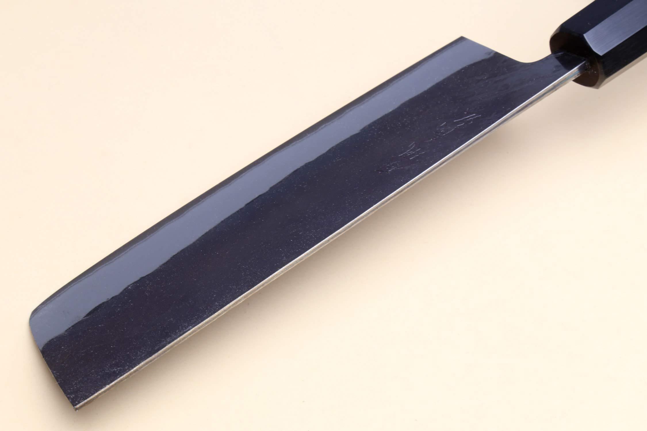 Yoshihiro Kurouchi Black-Forged Blue Steel Stainless Clad Nakiri Japanese Vegetable Knife (6.5'' (165mm) & Saya) by Yoshihiro (Image #7)