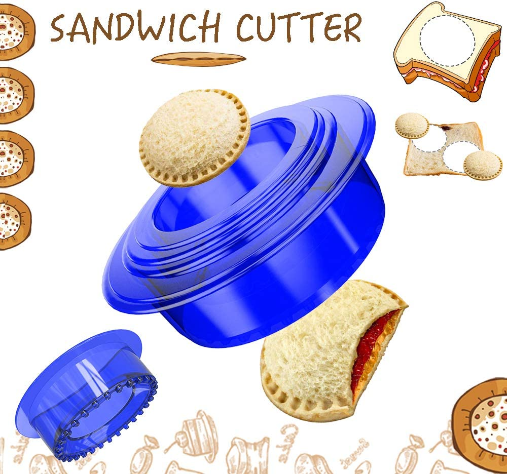 Tribe Glare Uncrustables Sandwich Maker - Sandwich Cutter for Kids - Sandwich Cutter and Sealer Have a Lovely Lunch Lunchable Box and Bento Box of Childrens Boys Girls - Blue