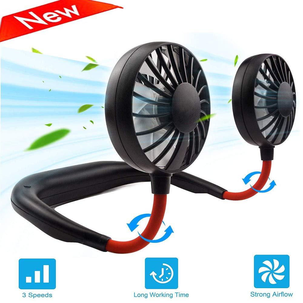 Portable Personal Fan, Hand Free USB Rechargeable Mini Fan, 360° Adjustable Headphone Wearable Neckband Fan, Necklace Fan Dual Wind Head for Traveling Outdoor Camping Office by NULIPAM