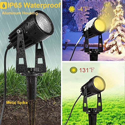Garden Lighting Spotlights, GreenClick 21M Outdoor Landscape Lights Mains Powered 12V Low Voltage Spike Lights Transformer Included Pathway Lights for Garden Yard Patio Christmas Decor (6 Pack)