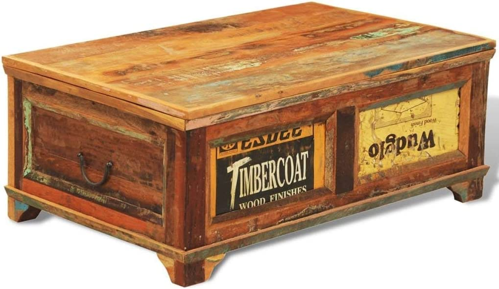 Amazon Com Vintage Reclaimed Wood Coffee Table Handmade Living Room Furniture Antique Style Wooden Box Trunk Storage Rustic Couch Solid Wood Table Multicolour Kitchen Dining