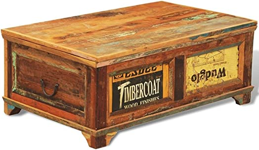 Vintage Reclaimed Wood Coffee Table Handmade Living Room Furniture Antique Style Wooden Box Trunk Storage Rustic Couch Solid Wood Table Multicolour