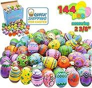 144 Pcs Plastic Printed Bright Easter Eggs Plus Golden Eggs 2 3/8
