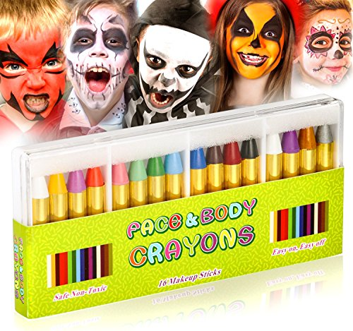 (JamBer 16 Pack Face Painting Crayons Bright Colors Dress Up Safety Face Body Paint Sticks Easy on Tatoo Paint Crayons for Toddlers Kids Children,EN71 Certified and Non)