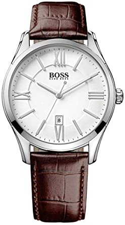 a4e5469fe Hugo Boss Ambassador Men's Silver Dial Leather Band Watch - 1513021 ...