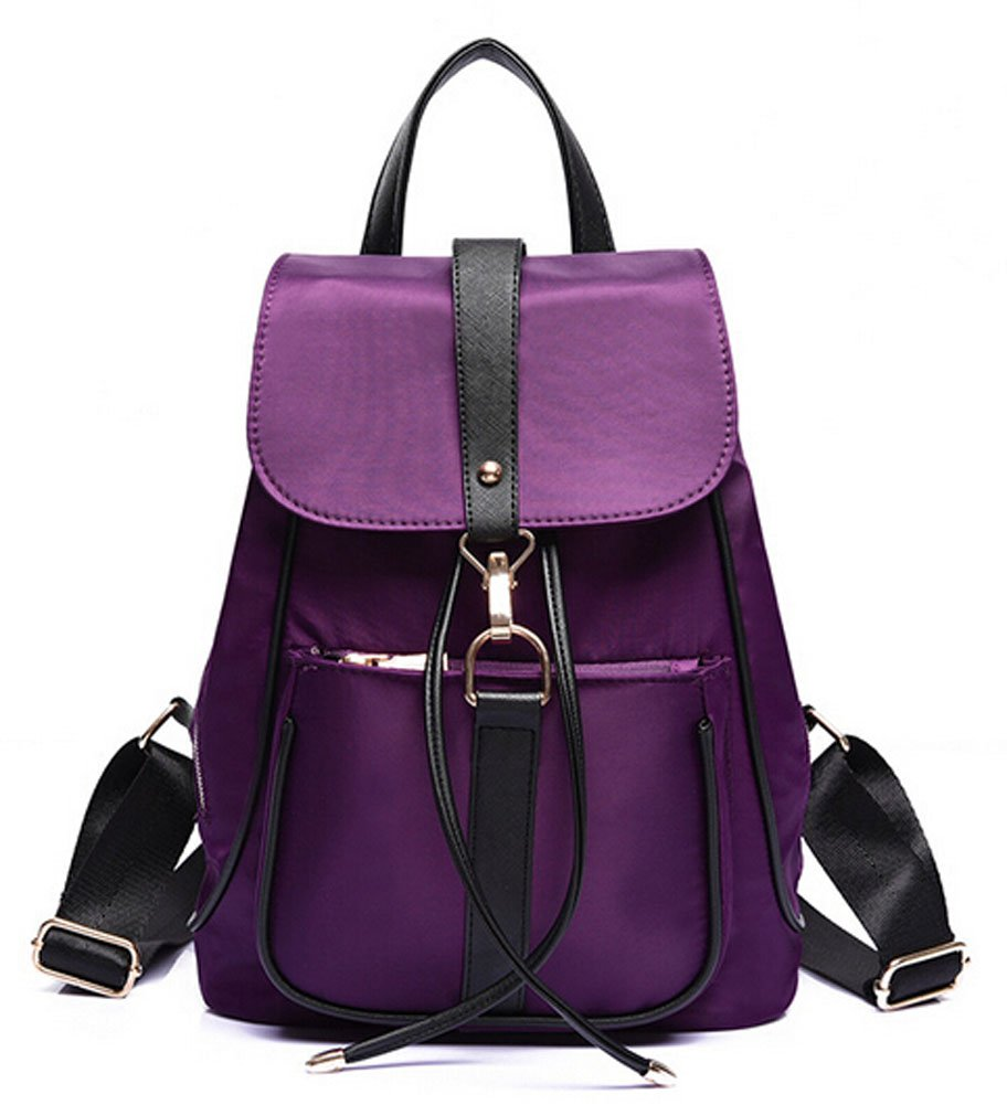 Ecokaki(TM) Fashion Water Resistant Women's Bag Casual Drawstring Backpack Cute Schoolbag Shoulder Bag, Purple