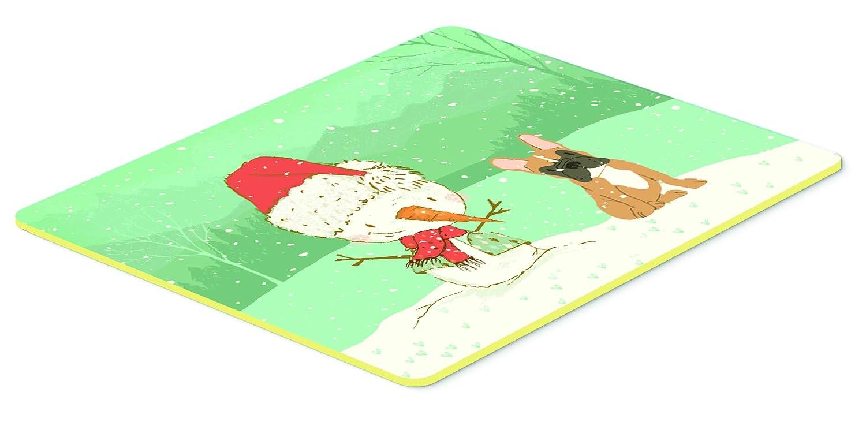 Carolines Treasures CK2086CMT Fawn French Bulldog Snowman Christmas Kitchen or Bath Mat 20x30 20Hx30W Multicolor