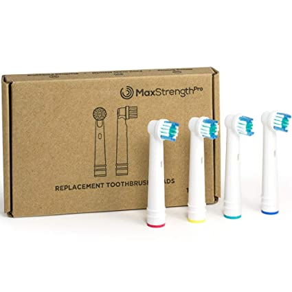 Juego de 12 cabezales de cepillo de dientes eléctrico de repuesto con anillos de Max Strength