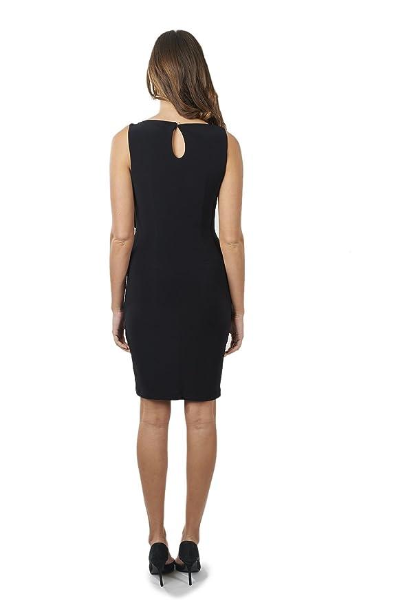 Joseph Ribkoff Black Ruffled Sleeveless Dress with Side Slit Zip Style 171017 at Amazon Womens Clothing store: