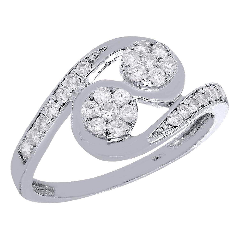 14K White Gold Diamond Two Stone Flower Swirl Engagement Ring Love