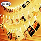 REDGO LED Photo String Lights 20 Photo Clips 2.5m/8.2ft Battery Powered Led Picture Lights Christmas Lights for Hanging Pictures Photo Indoor/Outdoor Decoration Notes, Artwork - Warm White