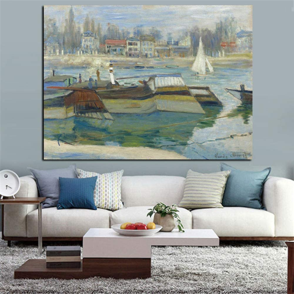 SADHAF Claude Monet Impresionista Barco Paisaje Retro Famoso Pintura al óleo Impreso Arte de pared sobre lienzo A3 50x70cm