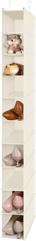 10-Shelf Hanging Shoe Shelf Organizer, Hanging Shoe Storage for Closet (Beige)