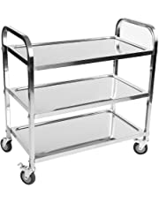 Greensen Kitchen Trolley, 3 Tier Stainless Steel Serving Catering Clearing Trolley on Wheel for Hotel Restaurant and Home, 85 × 45 × 90 cm
