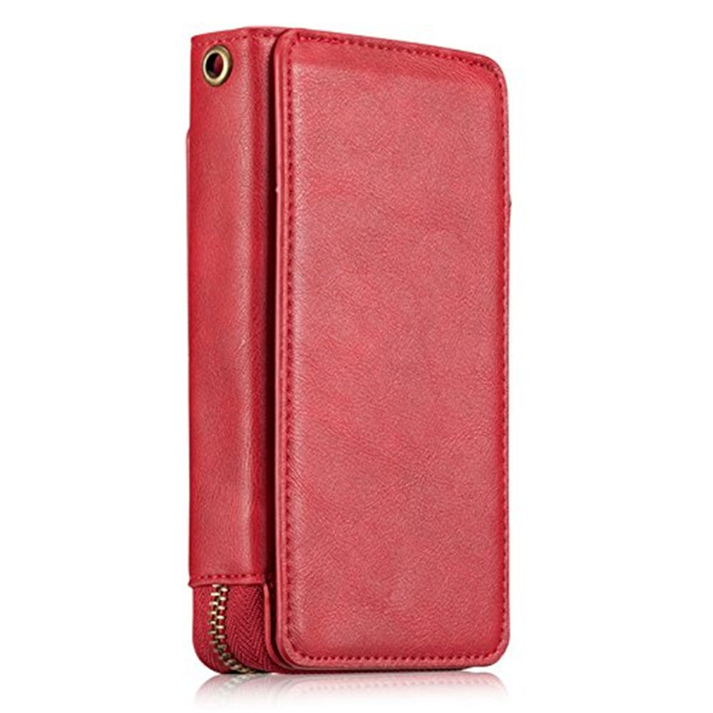 iPhone 7 Wallet Case for Girls Women Men, iPhone 8 Retro Vintage Zipper Case with Credit Card Holders, Premium PU Leather Case,Smart Magnetic Handbag Cover Case - Red