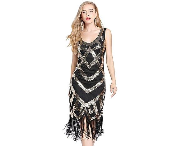 571a434a66 Chihu Vestido Años 20 Vestido Gatsby Vestido Fiesta Mujer Vestido Novia  Vestidos Playa Vestido Flecos(Dorado)  Amazon.es  Ropa y accesorios