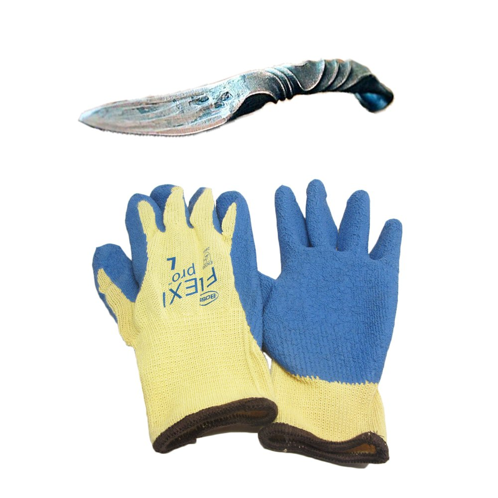 Variety of Oyster Shucking Clam Seafood Shellfish Knife Tools with Heavy-duty Grip Gloves (Carolina Shucker Shuggie w/e Gloves)