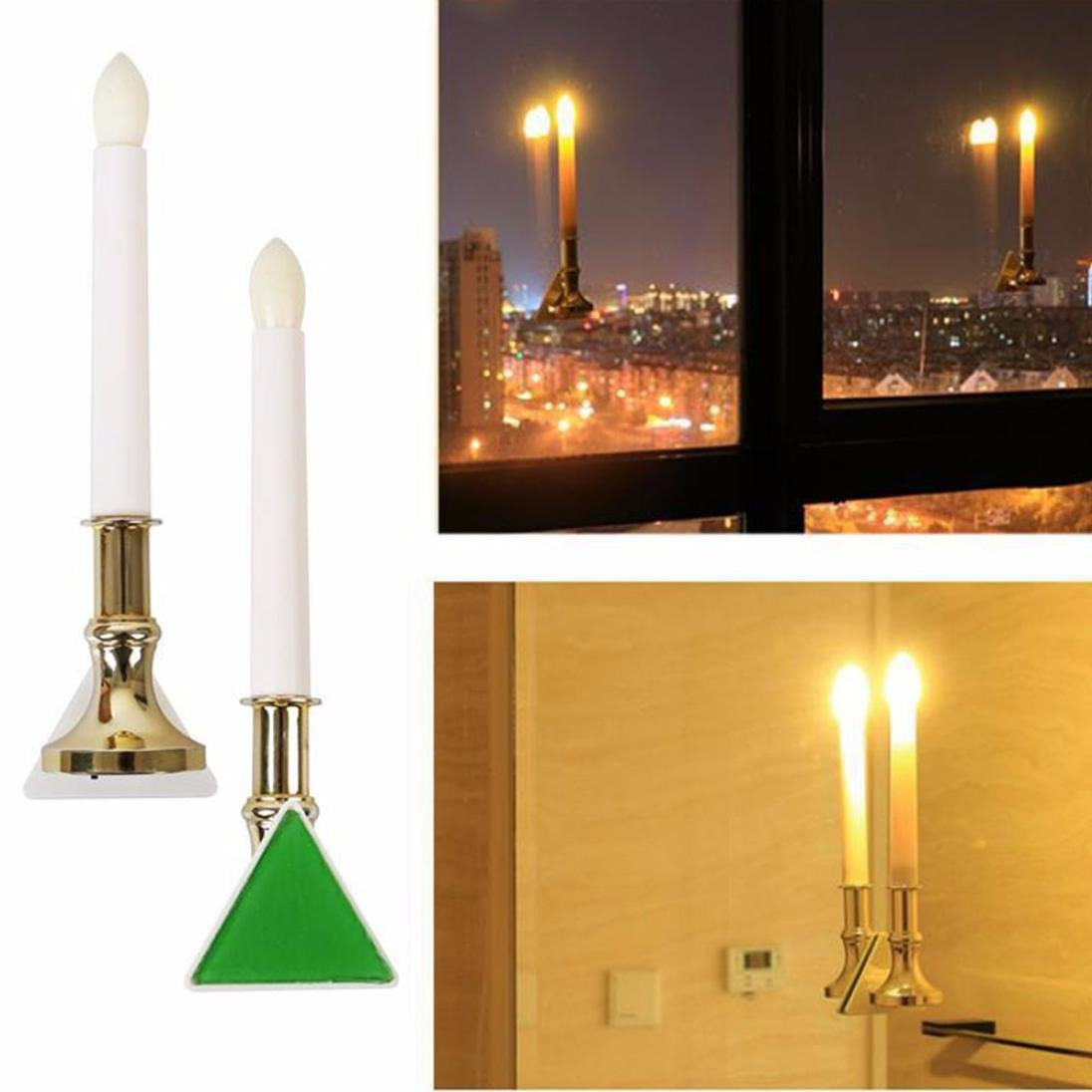 Candle Light LED Wall Lamp Battery / Solar Powered Candle Lamp with sucker (2pcs Battery Power)