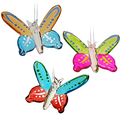 Amazon Com Banberry Designs Butterfly Ornaments Set Of 3 Colorful
