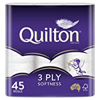 Quilton 3 Ply White Toilet Tissues, Pack of 45