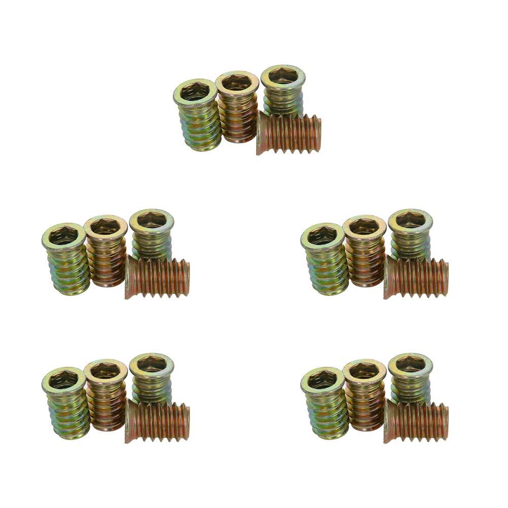 MroMax Wood Furniture M8 x 20mm Threaded Insert Nuts Interface Hex Socket Drive Carbon Steel Bronze Tone 20pcs