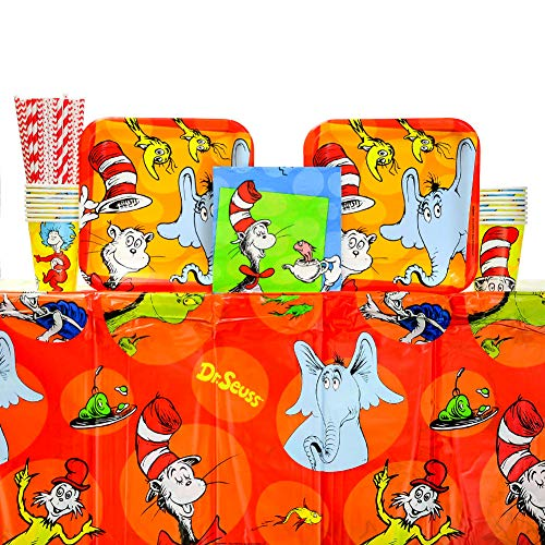Dr. Seuss Party Supplies Pack for 16 Guests: Straws, Dinner Plates, Luncheon Napkins, Cups, and Table Cover (Bundle for 16) ()