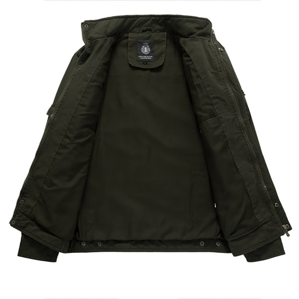 Amazon.com: Mens Military Cotton Jacket - Solid Colored Stand Collar Large Size Coats Casual Comfortable Classic Outerwear Spring Fall (Color : 1, ...