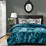 Chanasya Faux Fur Bed Blanket | Super Soft Fuzzy Light Weight Luxurious Cozy Warm Fluffy Plush Hypoallergenic Throw Blanket for Bed Couch Chair Fall Winter Spring Living Room (Queen)- Teal