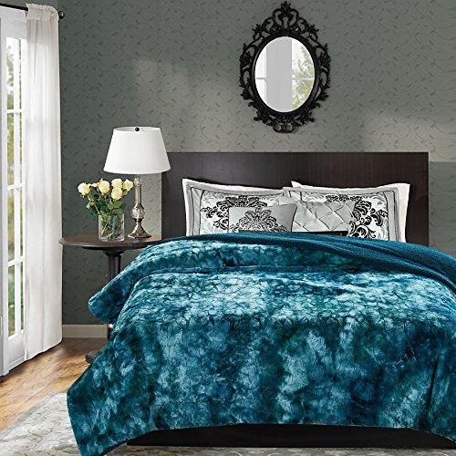 Beautiful Sofa (Chanasya Faux Fur Bed Throw Blanket - Super Soft Fuzzy Cozy Warm Fluffy Beautiful Color Variation Print Plush Sherpa Microfiber Teal Blanket (90