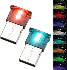 Mini USB LED RGB Ambient Light Brightness Adjustable 8 Color Changeable for Car, Laptop, Keyboard. Atmosphere Smart Night Lamp for Home Decoration ( DC : 5V ) (2 Item Package)