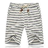 Banana Bucket Men's Summer Casual Linen Drawstring Striped Beach Shorts