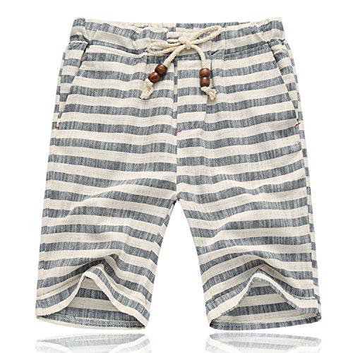 - Banana Bucket Men's Summer Casual Linen Drawstring Striped Beach Shorts