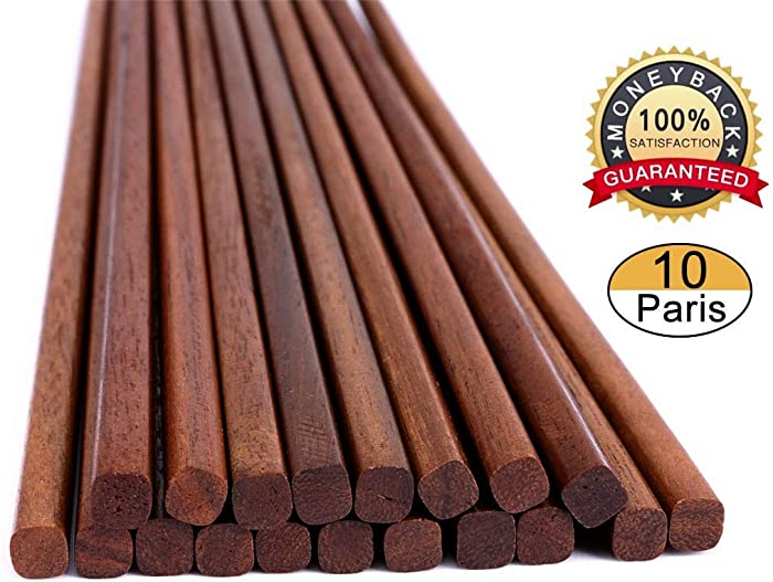 Chopsticks Reusable Wooden Chinese Chopsticks Dishwasher Safe Wood Chopstick,Pack of 10 Natural Health for Cooking Eating,Korean Japaness Style,9.8 inch Long,Dark Brown