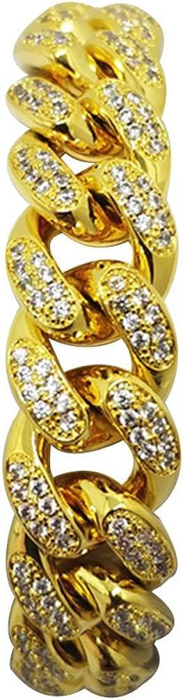 BESTOYARD Pulsera para hombre Hip Hop Rhinestones de cristal Diamantes cubano chapado en oro Enlace cadena de joyería Decoración