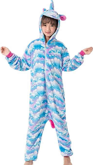 Amenxi Franela con Capucha Sleepsuit Unicornio Animal Pijama Entero Niños Cosplay Unisexo Traje para Mujer Hombre Disfraz para Navidad