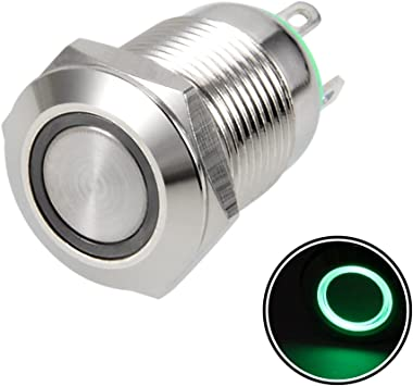 uxcell Momentary Metal Push Button Switch 19mm Mounting Dia 1NO 1NC COM 24V Green LED Light with Socket Plug Wires