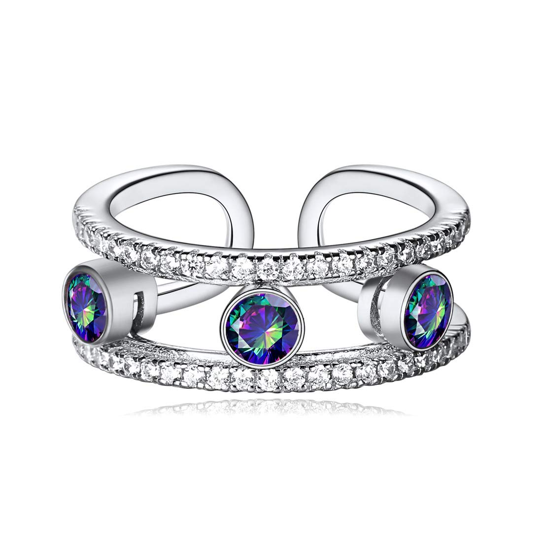 ChicSilver 925 Sterling Silver Cubic Zirconia Created Mystic Rainbow Topaz Ring Eternity Bands Halo Engagement Promise Rings