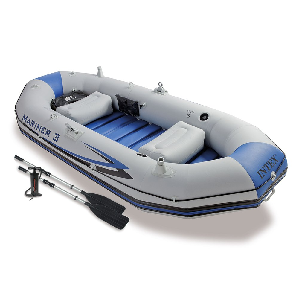 Intex Mariner 3, 3-Person Inflatable Boat Set with Aluminum Oars and High Output Air Pump (Latest Model) by Intex