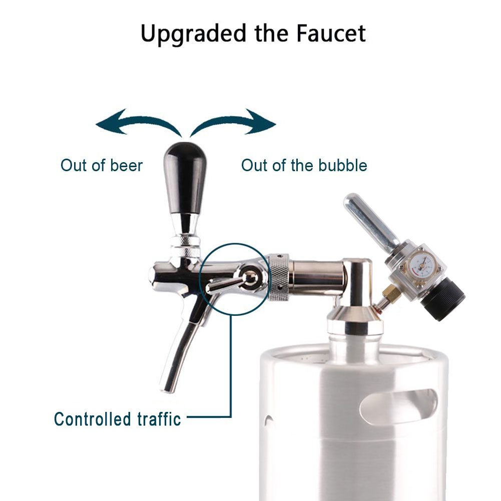 HAVEGET 5L Min Beer Keg for Home Brew Beer Dispenser System CO2 Adjustable draft Beer Faucet with stainless steel Beer barrels Regulator by HG (Image #3)