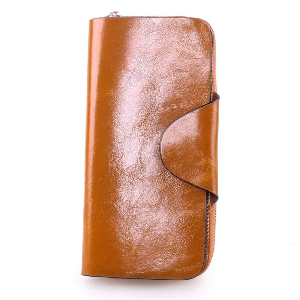 Brown Women's Long Zipper Leather Wallet Ladies Clutch Bag Large Capacity Flip MultiFunction Wallet (color   Black)