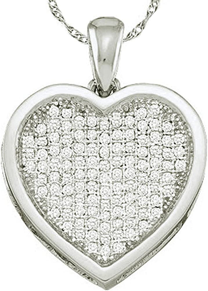 The Diamond Deal 10kt Yellow Gold Womens Round Diamond Cluster Small Heart Pendant 1//20 Cttw