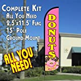 DONUTS (Pink/Yellow) Windless Feather Banner Flag Kit (Flag, Pole, & Ground Mt) For Sale