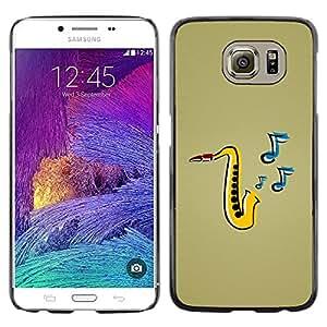 Shell-Star Arte & diseño plástico duro Fundas Cover Cubre Hard Case Cover para Samsung Galaxy S6 / SM-G920 / SM-G920A / SM-G920T / SM-G920F / SM-G920I ( Saxophone Music )