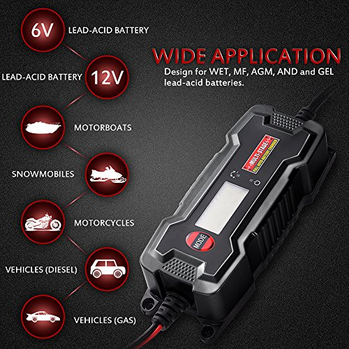 MICTUNING MULTI-STAGE LCD Display 6V/12V 0.8A/3.8A Smart Fully Automatic Battery Float Charger/Maintainer with Inline Blade Fuse, SAE Quick Connector by MICTUNING (Image #4)