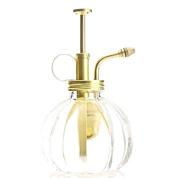 Purismo Estilo Planta Señor - Botella de vidrio transparente y rociador de latón (Matt Oro