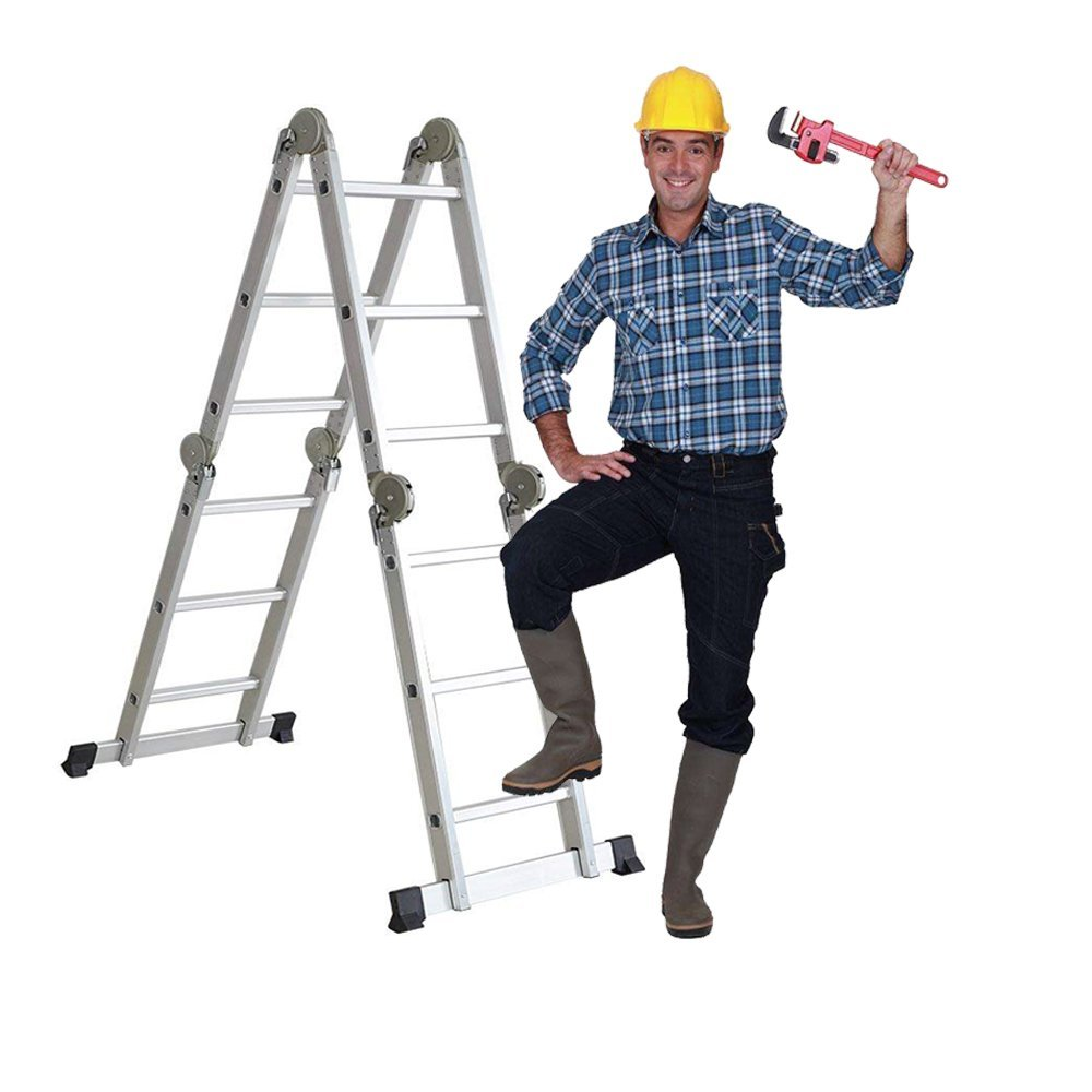 Livebest 11.5 Feet Folding Multi-Ladder 12 Step Aluminum Extendable Ladder Scaffold Ladders, 330lbs Capacity