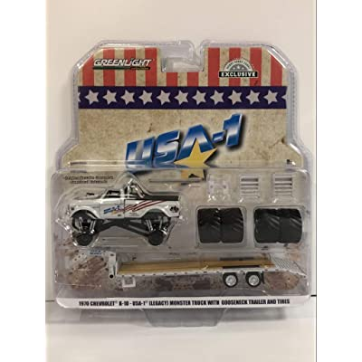 "1970 Chevrolet K-10 USA-1"" (Legacy) Monster Truck with Gooseneck Trailer w/Regular & Replacement 66"" Tires 1/64 Diecast Model Car by Greenlight 30101: Toys & Games"