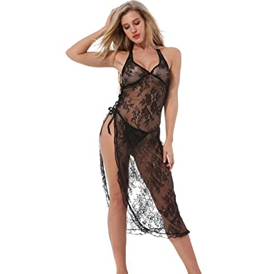 b1b007c519f Women Hot Sexy Halter See Through Side Slit Sleepwear Dress + G-String  Nightwear (