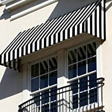 4.38 ft. Wide New Yorker Window/Entry Awning (31 in. H x 24 in. D) Black/White